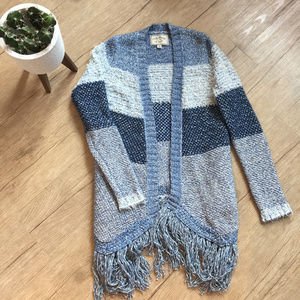 Lucky Brand Blue Fringe Sweater